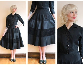 1950s Dress Set // Sparkling Star Taffeta Blouse & Skirt set // vintage 50s 2pc blouse + skirt