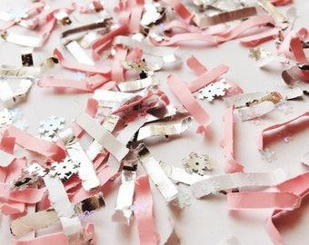 pink silver snowflake confetti onderland girl first birthday confetti pink silver party winter baby shower frozen birthday party wonderland
