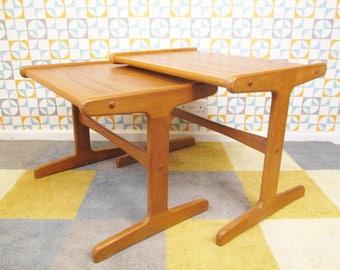 Vintage 60's Pair Nest Of 2 Teak Danish Tables Mid-Century Retro Home