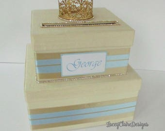 Baby Shower Card Box, Baby Birthday Card Box, Prince Theme Party, King Themed Party, Custom Made Card Holder
