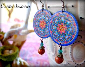 Blue Moroccan Mandala Earrings, Decoupage Earrings, Brown Goldstone Boho Earrings, Hippie Earrings, Mixed Media, Zen Yoga Jewelry