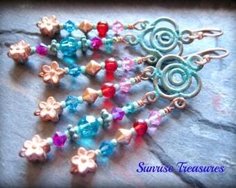 Green Verdigris Earrings, Patina Copper Earrings, Bohemian Chandelier Earrings, Crystal and Glass Colorful Earrings, Copper Jewelry