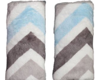 Car seat strap covers, padded strap covers, reversible strap covers, chevron Car Seat Strap Covers, mulit minky chevron