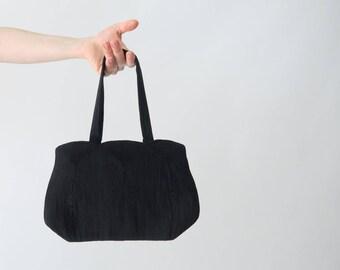 1940s Black Corde Handbag / Vintage Purse