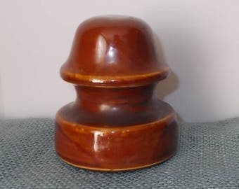 "Vintage Brown Glass Unmarked Insulator-3-1/4"" Diameter x 3-1/2"" Tall"