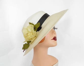 1960s vintage hat, white with yellow rose. Roberta Bernays