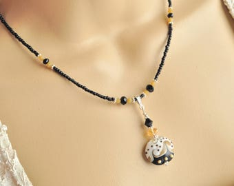 Black, Tan and White Venetian Murano Glass Bead, Jet Black and Sand Opal Swarovski Crystal Necklace and Earrings