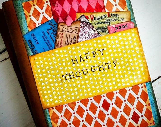 Featured listing image: Happy Thoughts Slim Journal Art Journal Keepsake Unlined Pages