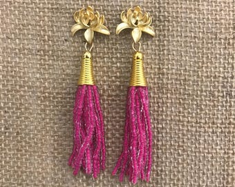Pink Tassel Earrings with Gold Flower Posts