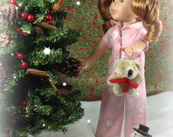 14 inch Doll Clothes- fits like Wellie Wisher- Pink Flannel Pajamas