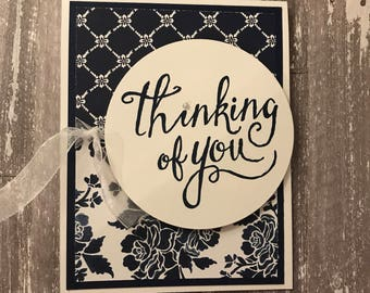 Navy, Floral, Thinking of You, Just Because, Hello, Pearl, Ribbon, Blank, Card, Greeting Card, Handmade, Paper Crafted, Stamped