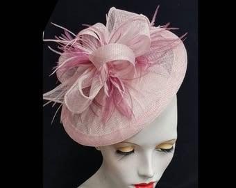 Rose pink saucer tilt sinamay fascinator hatinator hat with feather detail - headband fixing ideal races wedding
