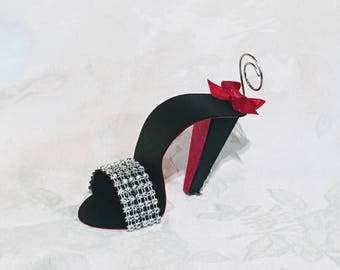 Rhinestone Black Stiletto Sandal Place Card Holder with Red Sole, Original Design