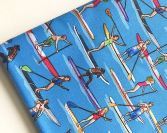 Stand-Up Paddle Boarding Fabric by Timeless Treasures Fabric, Blue Fabric, OOP, HTF