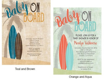 Surf Baby Shower Invitation Vintage Style - Baby on Board- Brown and Teal- Beach Theme Baby Shower for a Boy or Girl- Surfboards Baby Shower
