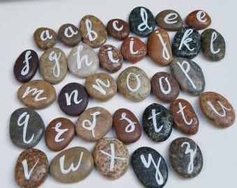 Handpainted rocks - alphabet stones  - monogram - alphabet rocks - smooth beach pebbles - table decor - refrigerator magnet option