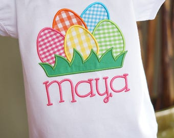 Easter Eggs Personalized Embroidered Toddler Tee Shirt - Girl - Short or Long Sleeves - Colorful Gingham