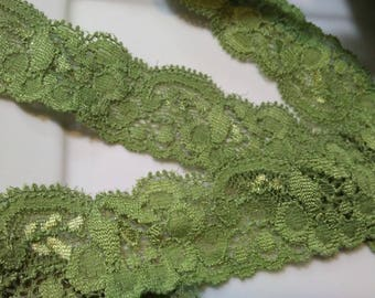 """Beautiful 1 1/4"""" Stretch Green Color Lace. Great for Cardigan,   Lingerie. Costume Design, Alter Art. 4 Yards or 8 Yards"""