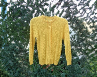 VINTAGE 1970's Ladies Bright Yellow Button Down Cable Knit Winter Sweater - Free Shipping (available)