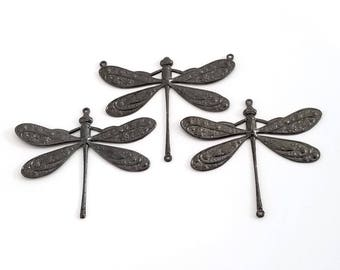 Extra Large Brass Dragonfly, Hematite Black, 1-5/8 inch (42mm) Dragonfly Charm or Connector, Made in the USA, Lot Size 1 to 20, #07 - 13 BL