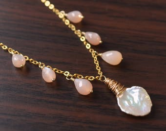 Peach Moonstone Necklace, Gold Filled, Keishi Keshi Pearl Jewelry, Real Gemstone Drops, Wire Wrapped, Elegant and Feminine, Free Shipping