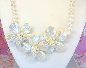 Ivory triple flower shell pearl statement necklace, Iridescent shell plumeria white pearl beach necklace