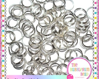 8mm SILVER PLATED SPLIT Rings, Qty. 50, Silver Jump Rings, Jewelry Supplies, Metal Split Rings, Findings, The Bubblegum Bead Co.