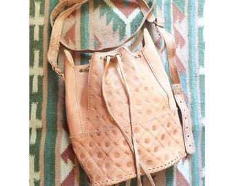 Tooled leather purse, bucket bag, cross body style, handmade