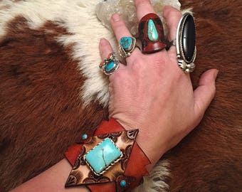 Handmade Tooled Leather & Turquoise Cuff