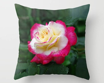 Rose throw pillow cover, red, cream, floral mother's day gift, rose flower, gift, gardener, Rosa Double Delight, home decor, floral pillow