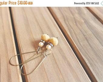 40% OFF SALE Butter yellow bead, rhinestone, and pearl bead drop earrings, kidney wire earrings
