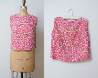 1960s Beaded Blouse / 60s Pink Crop Top