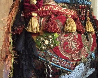Bohemian Gypsy Bag, handmade velvet chenille upholstery fabric, vintage embellished ooak jewelry beads buttons tassels fringe, black lace
