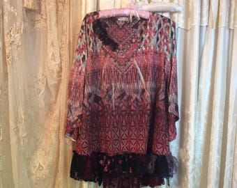 2X Large, Maroon Brown Top, earthy hippie gypsy, lace altered clothing, bohemian stretchy pullover shirt, gypsy clothes, lace hemline