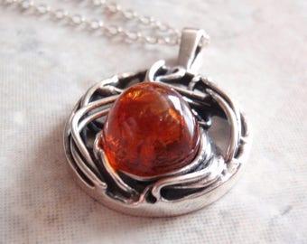 Amber Sterling Necklace Silver Round Spider Web High Dome Bullet Vintage V0046