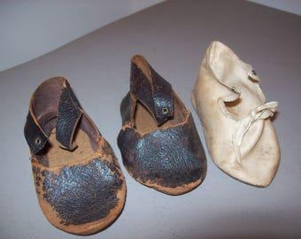 Antique Baby Shoes Old childs Shoes Crafting Art Projects Circa 1900