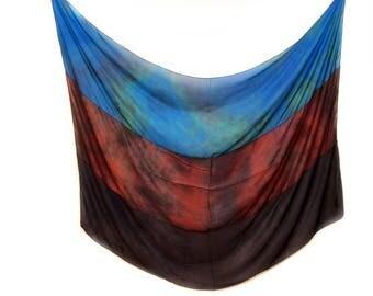 Women's silk scarf - navy and brown