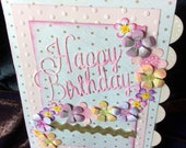 Birthday card hand made with flowers chic