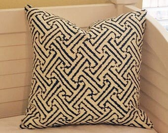 Alan Campbell for Quadrille China Seas Java Java Grande Navy on Tint (Ivory)  Designer Pillow Cover 20x20