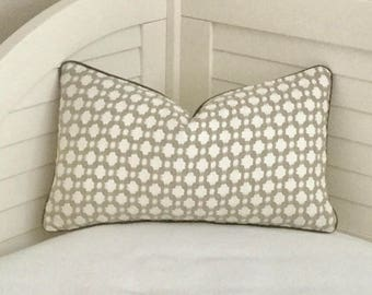 Schumacher Celerie Kemble Betwixt in Stone and White  Designer Pillow Cover with Gray Piping - Square, Lumbar,Euro Sizes