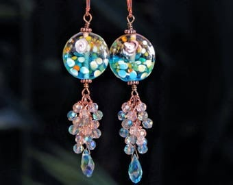 Monet Inspired, Murano Glass, and Crystal, Copper Earrings