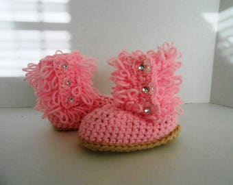 Pretty Little Pink Diva Slipper Boots hand crochet