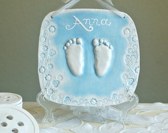 RESERVED LISTING Ceramic Hand & Footprint Plaque and 2 sets of christmas orn snowman and santa  - Baby Prints