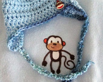Baby blanket and hat set, fleece and crochet, monkey, blue