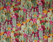 Colorful Packed Cactus Flowers Print Pure Cotton Fabric--By the Yard