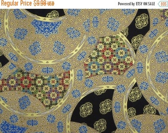 ON SALE Taupe and Black with Metallic Gold Asian Circles Print from Timeless Treasures--One Yard