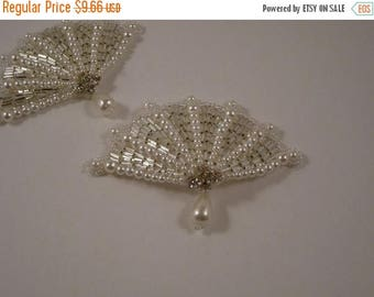 ON SALE Fan Shaped Pearl and Rhinestone Applique--One Piece