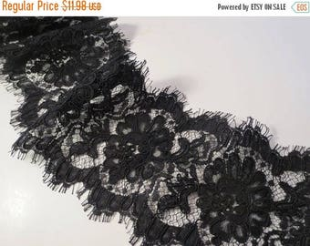 "ON SALE Black Floral Pattern French Alencon Lace Trim 5"" wide--One Yard"