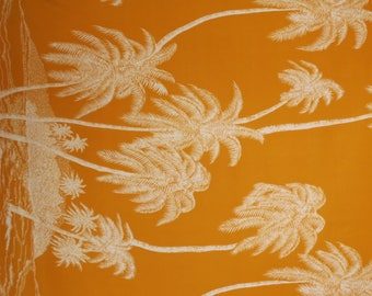 White on Golden Yellow Palm Tree Border Print Rayon Shirting Fabric--By the Yard