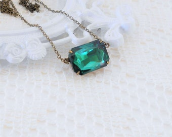 Emerald Necklace, Art Deco Necklace, Choker, Old Hollywood Vintage Glass Jewel Necklace, Estate Jewelry, Crystal Necklace